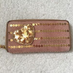 Juicy Couture pink Valore gold sequence wallet